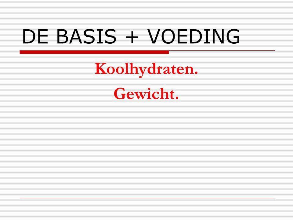DE BASIS + VOEDING Koolhydraten. Gewicht.