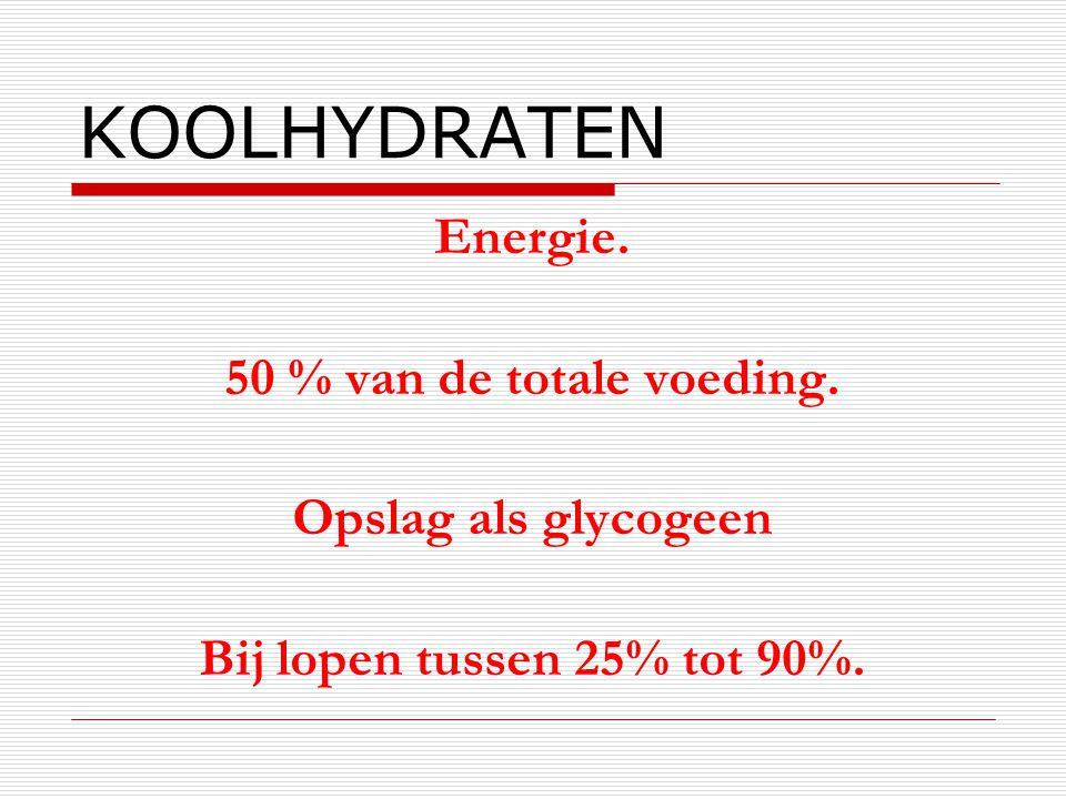KOOLHYDRATEN Energie. 50 % van de totale voeding. Opslag als glycogeen Bij lopen tussen 25% tot 90%.