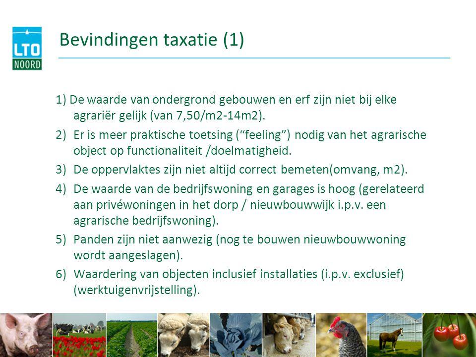 Bevindingen taxatie (1) 1) De waarde van ondergrond gebouwen en erf zijn niet bij elke agrariër gelijk (van 7,50/m2-14m2). 2)Er is meer praktische toe