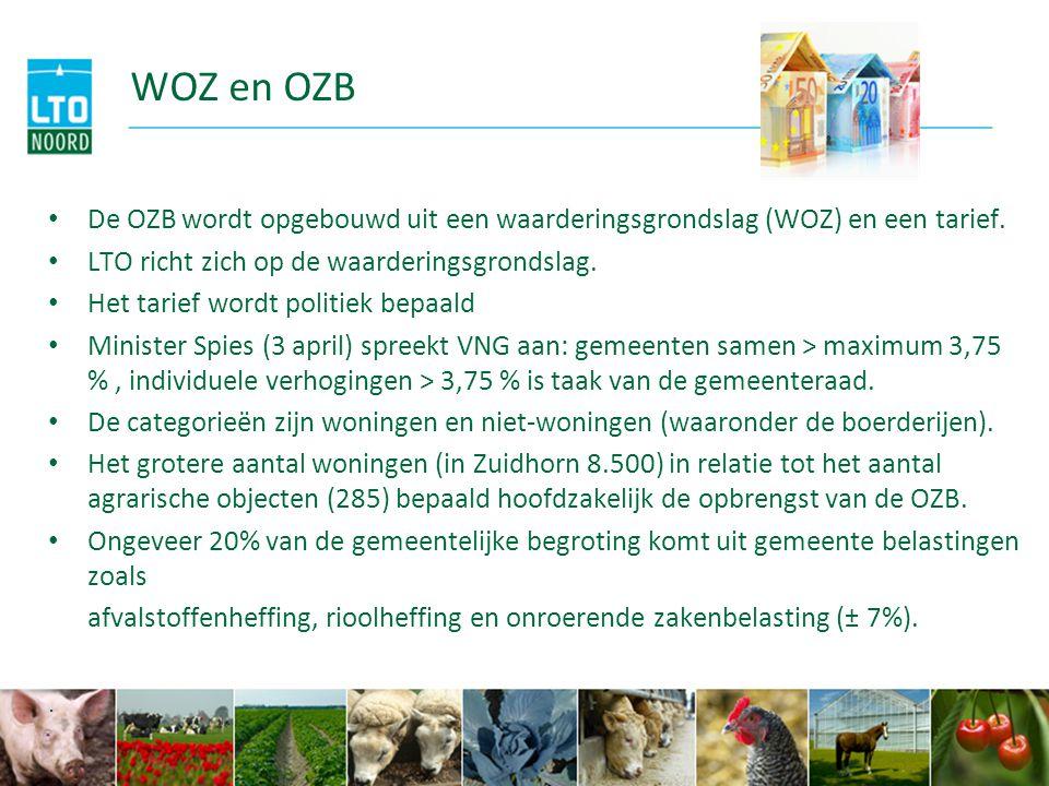 WOZ en OZB De OZB wordt opgebouwd uit een waarderingsgrondslag (WOZ) en een tarief. LTO richt zich op de waarderingsgrondslag. Het tarief wordt politi