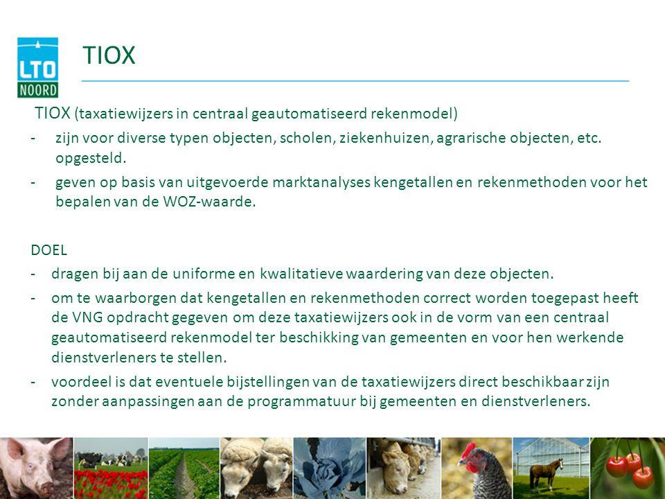 (1) TIOX adviezen (systeem) TIOX systematiek (gebouwen en grond) -A) Meer rekening houden met regionale verschillen/invloeden/omgeving (1) verfijning van 14 naar 66 gebieden is een verbetering maar kan leiden tot minder referentiepanden of betere toepasbaarheid (dit vraagt meer nauwkeurigheid van de gemeente met mogelijk meer bezoek ter plaatse) (vb : bedrijven bij natuurgebieden, wegen of wel of niet in de ruilverkaveling) (2) dezelfde gebouwen op 50 ha veen zijn minder waard dan op 50 ha klei, regionale verdeling grond zit goed in het systeem (N.