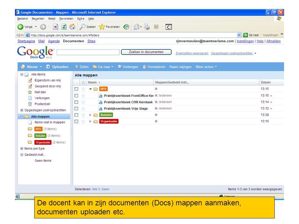De docent kan in zijn documenten (Docs) mappen aanmaken, documenten uploaden etc.