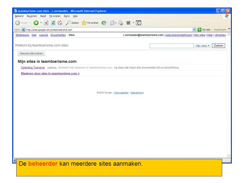 De beheerder kan meerdere sites aanmaken.