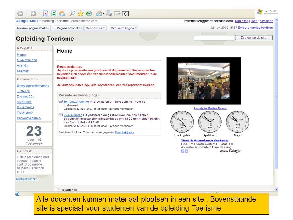 Alle docenten kunnen materiaal plaatsen in een site. Bovenstaande site is speciaal voor studenten van de opleiding Toerisme
