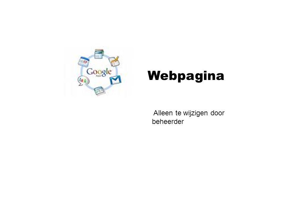 Webpagina Alleen te wijzigen door beheerder