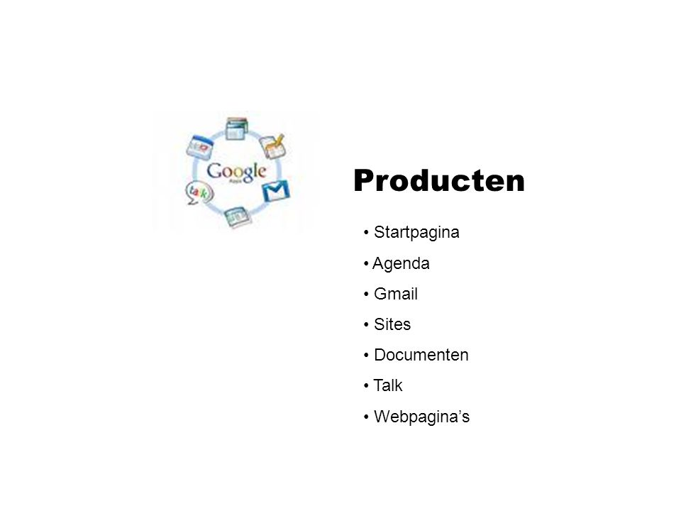 Producten Startpagina Agenda Gmail Sites Documenten Talk Webpagina's