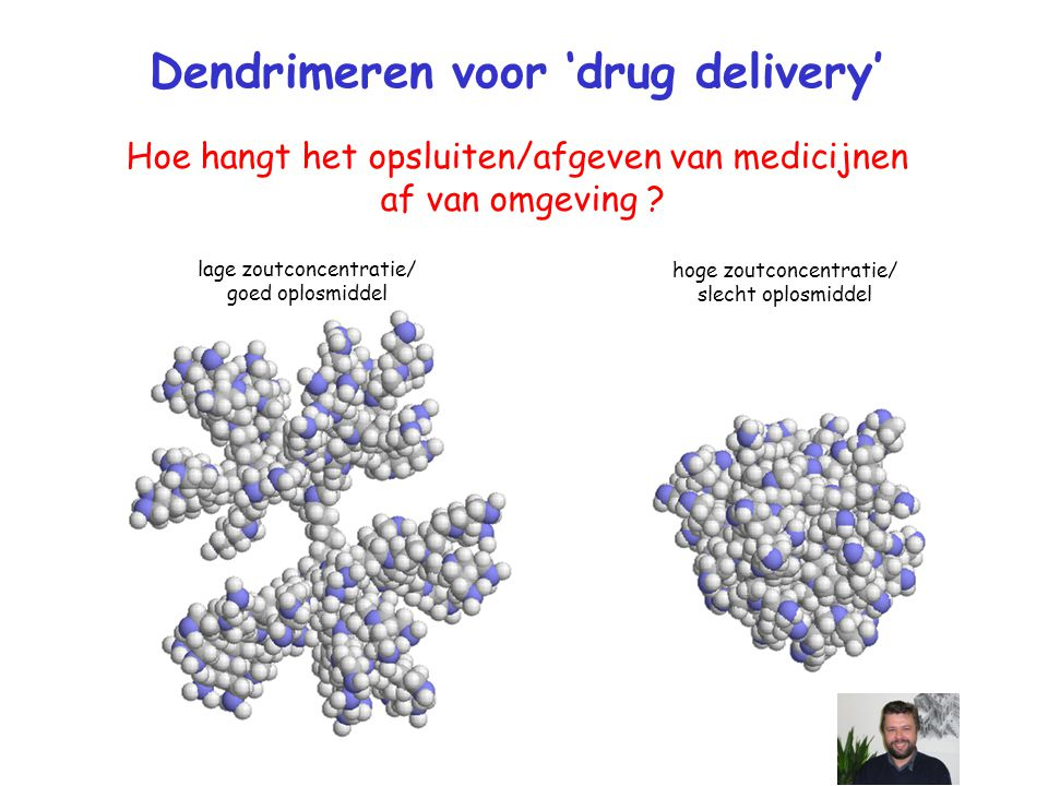 lage zoutconcentratie/ goed oplosmiddel hoge zoutconcentratie/ slecht oplosmiddel Dendrimeren voor 'drug delivery' Hoe hangt het opsluiten/afgeven van medicijnen af van omgeving ?