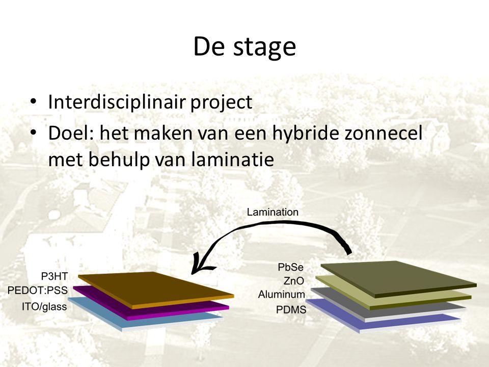 De stage Interdisciplinair project Doel: het maken van een hybride zonnecel met behulp van laminatie