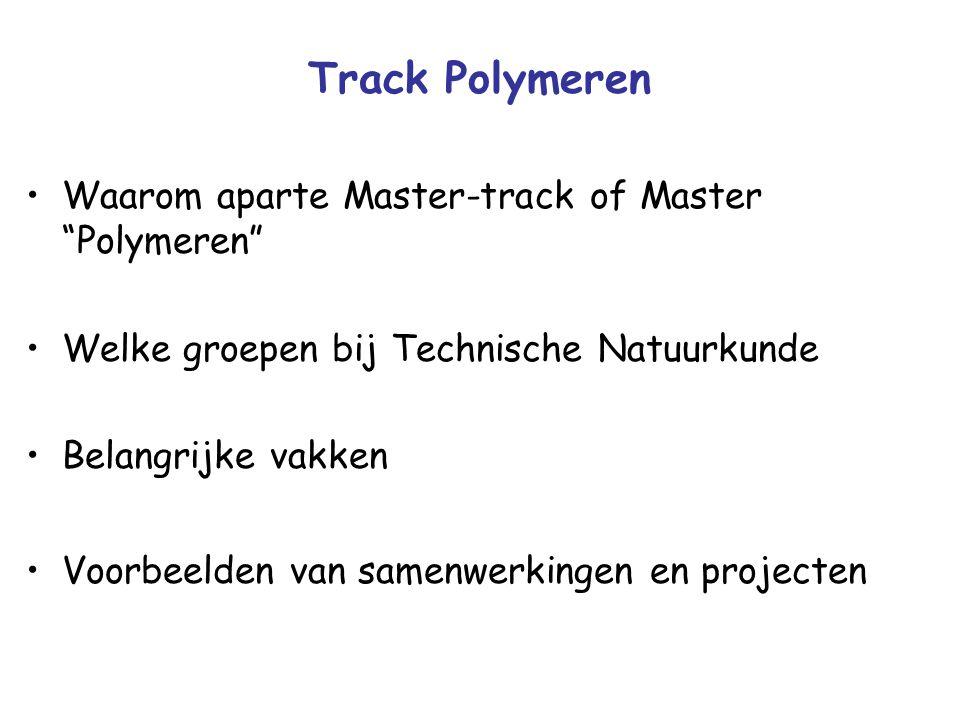 Track Polymeren Waarom aparte Master-track of Master Polymeren Welke groepen bij Technische Natuurkunde Belangrijke vakken Voorbeelden van samenwerkingen en projecten