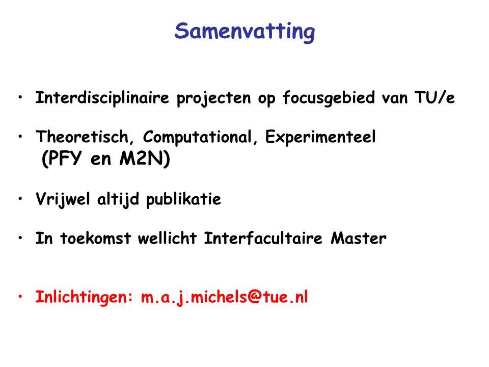 Samenvatting Interdisciplinaire projecten op focusgebied van TU/e Theoretisch, Computational, Experimenteel (PFY en M2N) Vrijwel altijd publikatie In