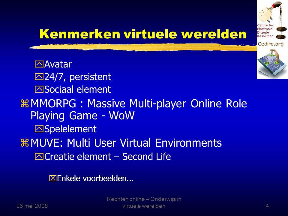 23 mei 2008 Rechten online – Onderwijs in virtuele werelden15 Waar vindt de bijeenkomst plaats.