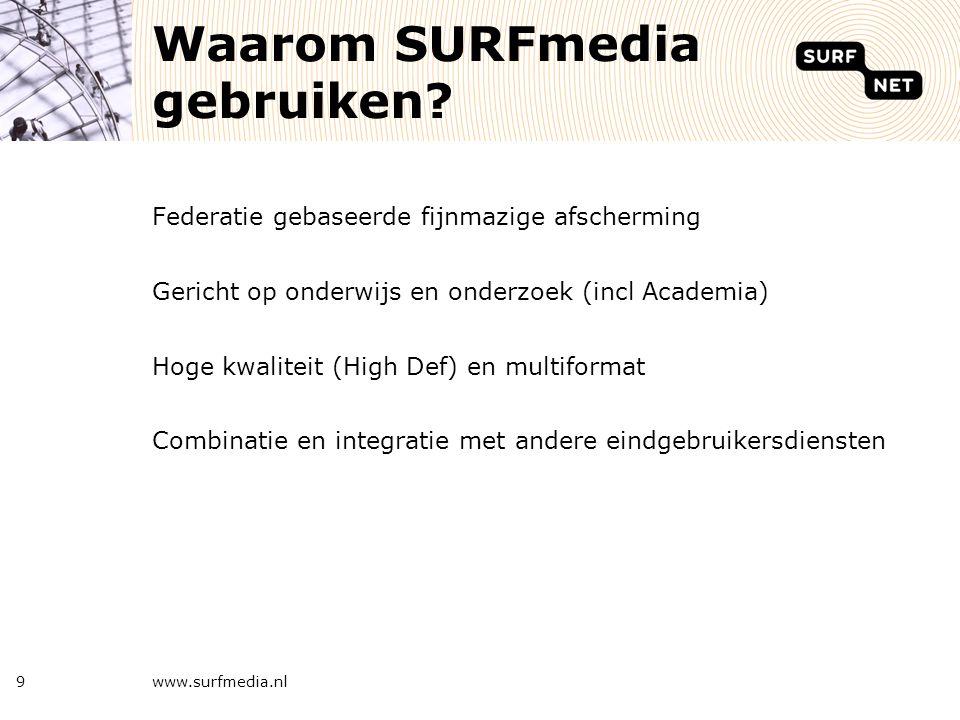 9 Waarom SURFmedia gebruiken? Federatie gebaseerde fijnmazige afscherming Gericht op onderwijs en onderzoek (incl Academia) Hoge kwaliteit (High Def)