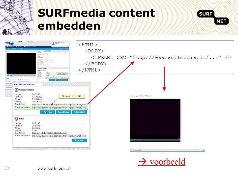 13 SURFmedia content embedden  voorbeeld www.surfmedia.nl