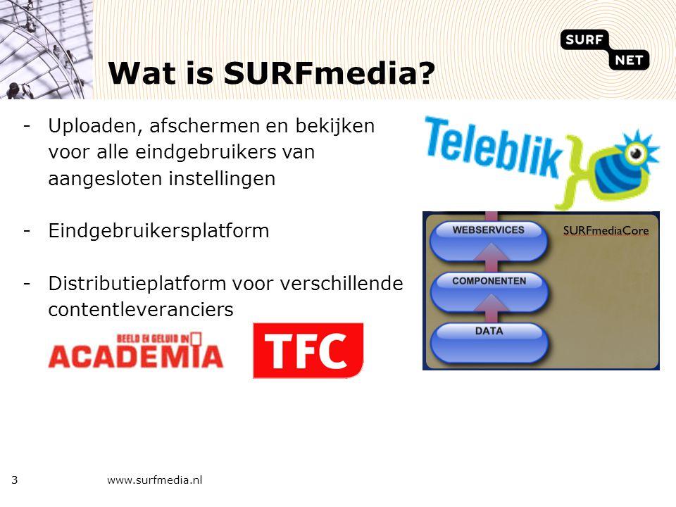 www.surfmedia.nl4 SURFmedia kenmerken -Integratie on-demand en live dienst -Toegang via SURFgroepen account en federatief instellingsaccount -1GB gratis opslag -Geavanceerde afscherming -Tagging, reviews, waarderingen -Screenshots en previews -WindowsMedia, MP4 (Quicktime) en Flash -Streamen en downloaden (+ RSS = Vodcast) -Zelf radio/TV kanalen maken