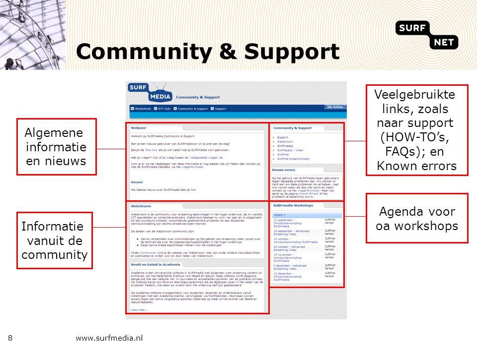 www.surfmedia.nl8 Community & Support Algemene informatie en nieuws Veelgebruikte links, zoals naar support (HOW-TO's, FAQs); en Known errors Informat