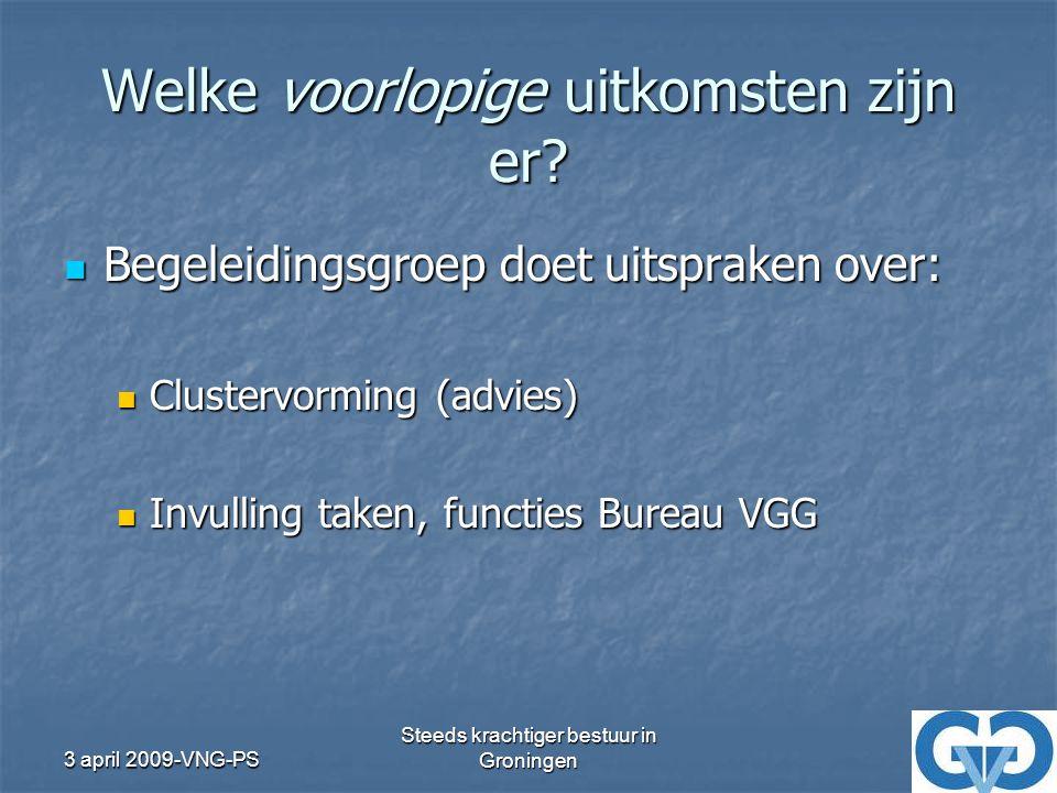 3 april 2009-VNG-PS Steeds krachtiger bestuur in Groningen Welke voorlopige uitkomsten zijn er.