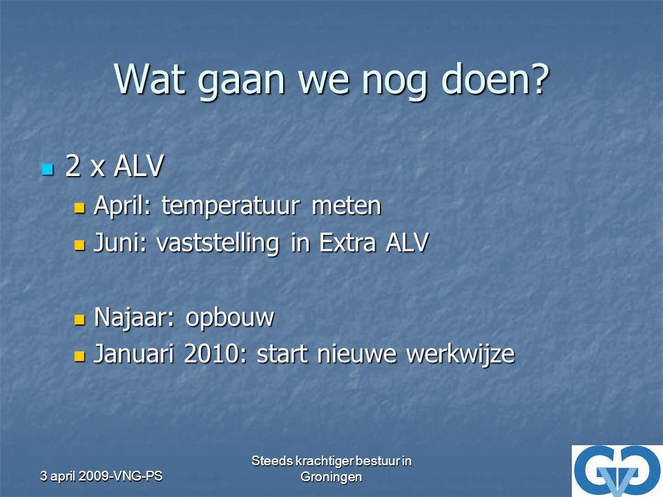 3 april 2009-VNG-PS Steeds krachtiger bestuur in Groningen Wat gaan we nog doen.