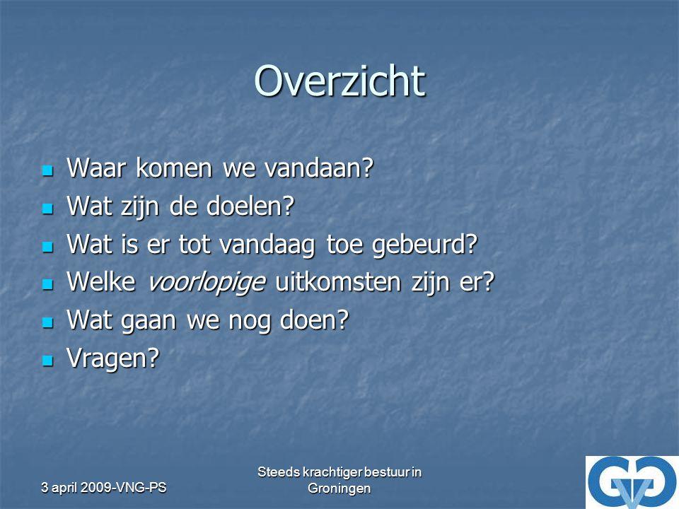 3 april 2009-VNG-PS Steeds krachtiger bestuur in Groningen Overzicht Waar komen we vandaan.