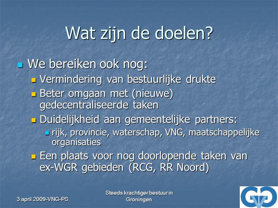 3 april 2009-VNG-PS Steeds krachtiger bestuur in Groningen Wat hebben we tot nu toe gedaan.