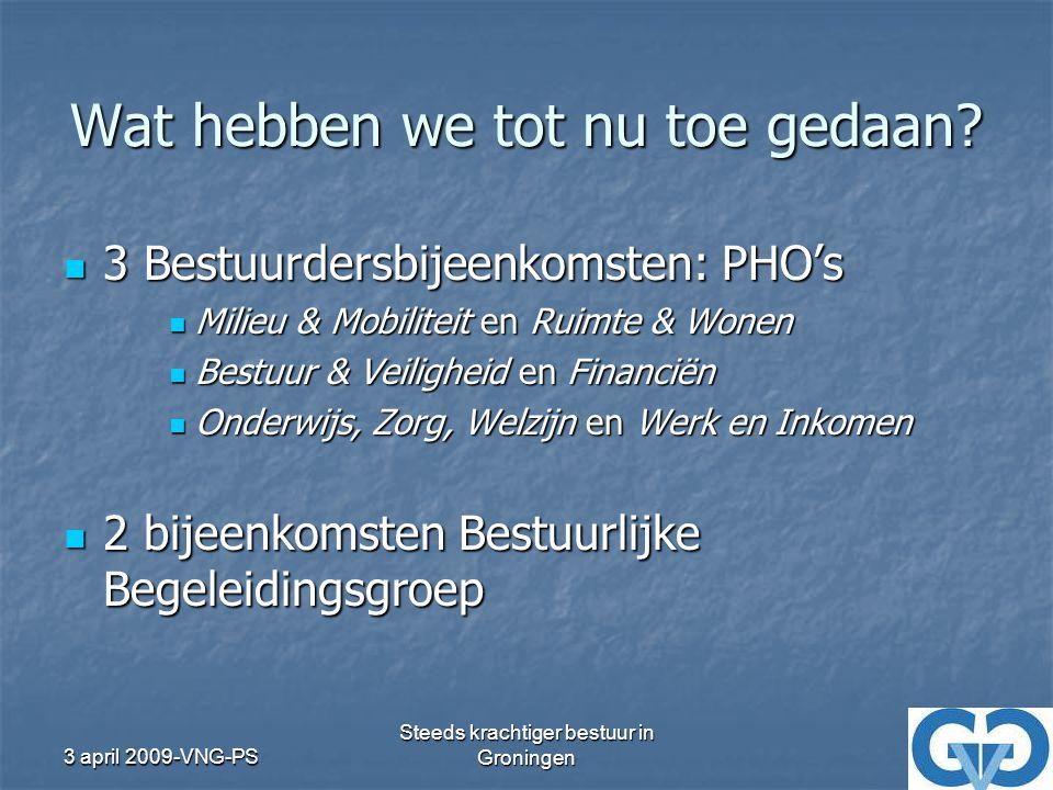 3 april 2009-VNG-PS Steeds krachtiger bestuur in Groningen Resultaat BUSINESSPLAN VGG 2010 BUSINESSPLAN VGG 2010 Totale aanpak voor: Totale aanpak voor: Doelstellingen na 2010 Doelstellingen na 2010 Taken VGG 2010 Taken VGG 2010 Werkwijze VGG 2010 Werkwijze VGG 2010 Tot op het niveau functieomschrijving en financiering Tot op het niveau functieomschrijving en financiering ALV november: begroting 2010 definitief ALV november: begroting 2010 definitief