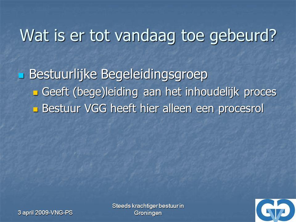 3 april 2009-VNG-PS Steeds krachtiger bestuur in Groningen Bestuurdersbijeenkomsten Clustervorming draagt bij aan vergroting bestuurskracht Clustervorming draagt bij aan vergroting bestuurskracht VGG moet: VGG moet: Gezamenlijke belangen behartigen Gezamenlijke belangen behartigen Platform faciliteren Platform faciliteren Kennisdeling stimuleren Kennisdeling stimuleren Kan bepaalde projecten ex-WGR regio's overnemen Kan bepaalde projecten ex-WGR regio's overnemen Meer dan nu…dus dat mag ook wat kosten Meer dan nu…dus dat mag ook wat kosten