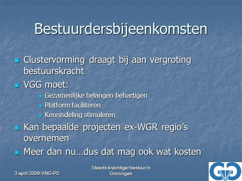 3 april 2009-VNG-PS Steeds krachtiger bestuur in Groningen Eerste advies Begeleidingsgroep Geen statuten/structuurwijzigingen Geen statuten/structuurwijzigingen Stad mag grotere rol in het geheel hebben Stad mag grotere rol in het geheel hebben Clustersamenwerking zichtbaarder, op inhoud wisselende clusters Clustersamenwerking zichtbaarder, op inhoud wisselende clusters VGG regisseur in kennisdelen en belangenbehartiging – mag meer kosten VGG regisseur in kennisdelen en belangenbehartiging – mag meer kosten Prominentere rol voor de stad Prominentere rol voor de stad VGG geen extra bestuurslaag VGG geen extra bestuurslaag