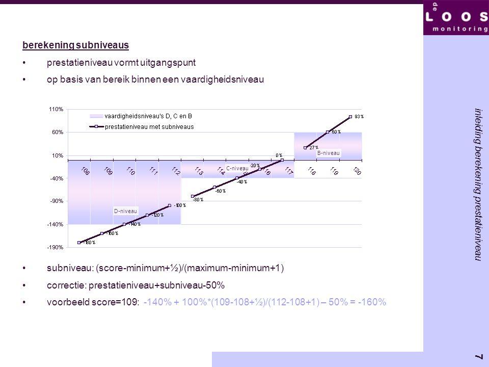 8 inleiding berekening prestatieniveau berekening subniveaus bij vaardigheidsniveau A 'lineaire' subniveaus vervangen door 'gebogen' subniveaus vanwege lagere betrouwbaarheid en percentielen in uitlopers correctie: prestatieniveau + 100% * √ (subniveau) -50% A-niveau