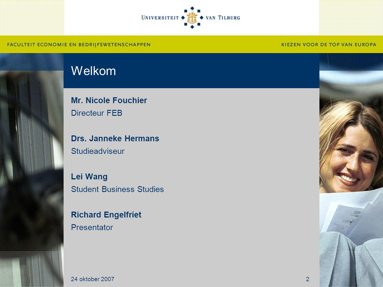 Welkom Mr. Nicole Fouchier Directeur FEB Drs.