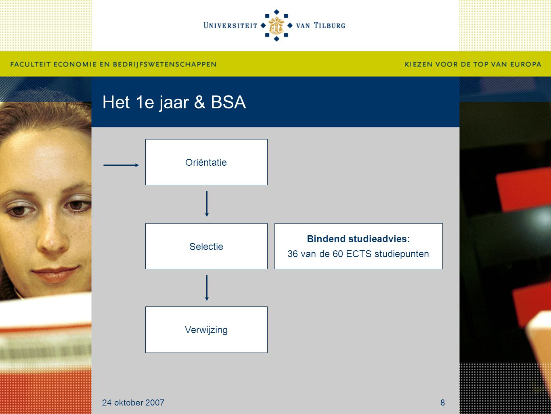 Het 1e jaar & BSA Oriëntatie Selectie Verwijzing Bindend studieadvies: 36 van de 60 ECTS studiepunten 24 oktober 20078