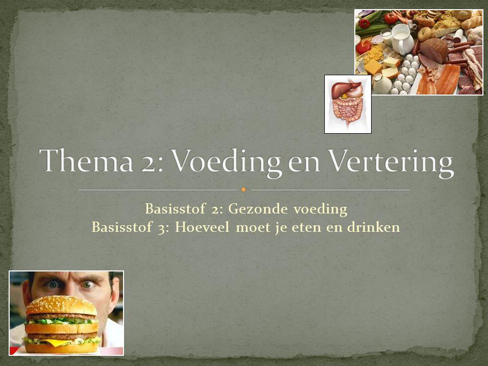 Basisstof 2: Gezonde voeding Basisstof 3: Hoeveel moet je eten en drinken
