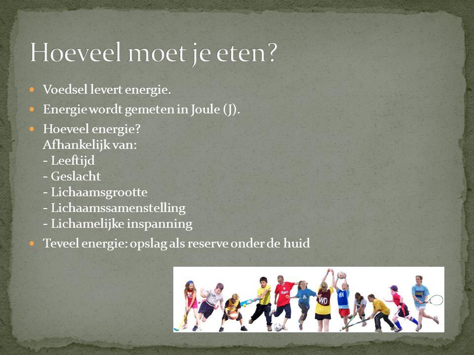 Voedsel levert energie. Energie wordt gemeten in Joule (J). Hoeveel energie? Afhankelijk van: - Leeftijd - Geslacht - Lichaamsgrootte - Lichaamssamens