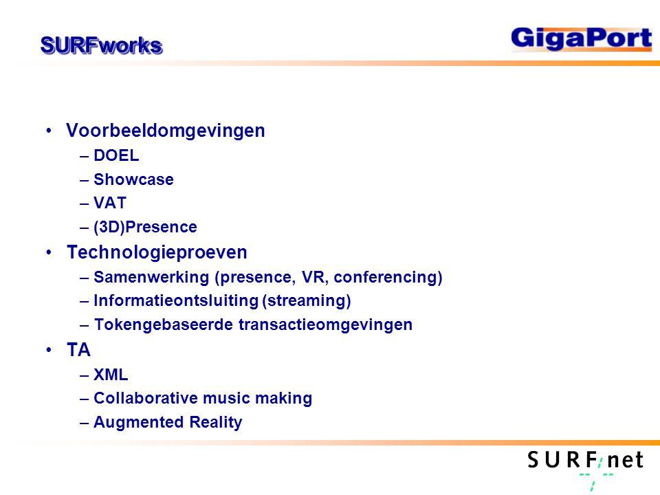 SURFworksSURFworks Voorbeeldomgevingen –DOEL –Showcase –VAT –(3D)Presence Technologieproeven –Samenwerking (presence, VR, conferencing) –Informatieontsluiting (streaming) –Tokengebaseerde transactieomgevingen TA –XML –Collaborative music making –Augmented Reality