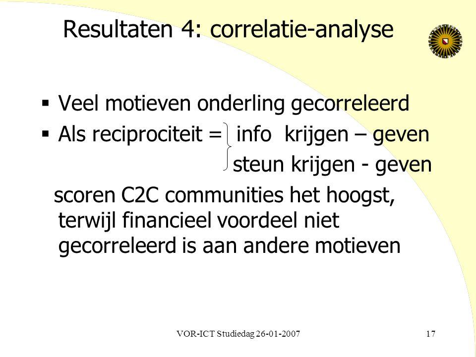 VOR-ICT Studiedag 26-01-200717 Resultaten 4: correlatie-analyse  Veel motieven onderling gecorreleerd  Als reciprociteit = info krijgen – geven steun krijgen - geven scoren C2C communities het hoogst, terwijl financieel voordeel niet gecorreleerd is aan andere motieven