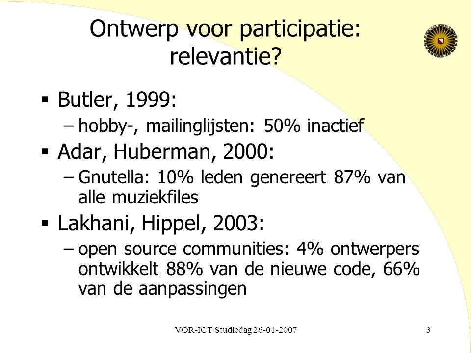 VOR-ICT Studiedag 26-01-20073 Ontwerp voor participatie: relevantie?  Butler, 1999: –hobby-, mailinglijsten: 50% inactief  Adar, Huberman, 2000: –Gn
