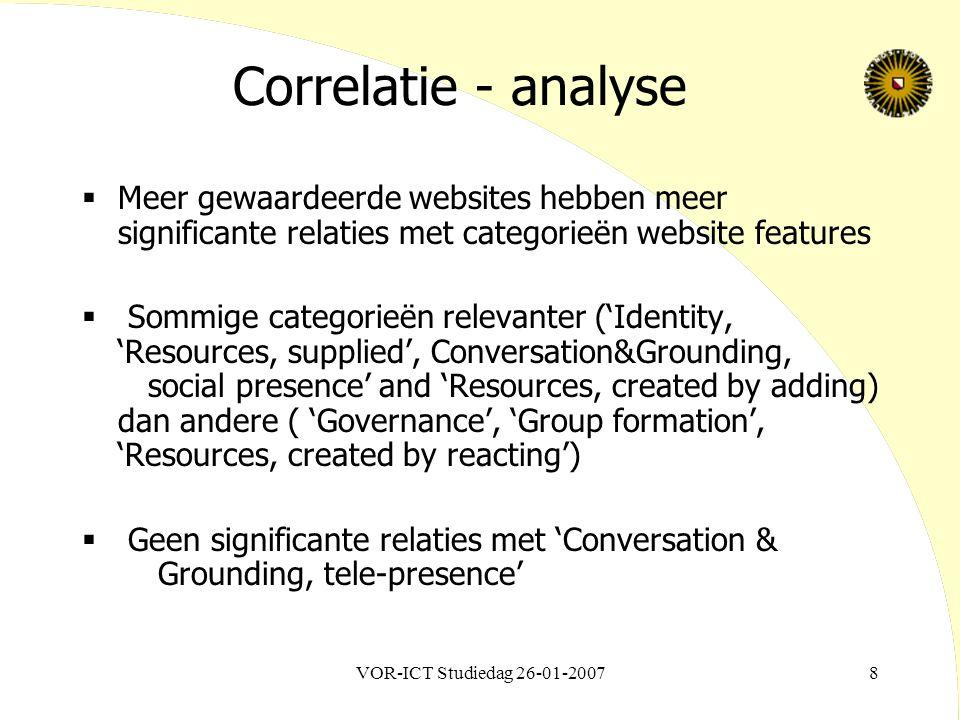 VOR-ICT Studiedag 26-01-20078 Correlatie - analyse  Meer gewaardeerde websites hebben meer significante relaties met categorieën website features  S