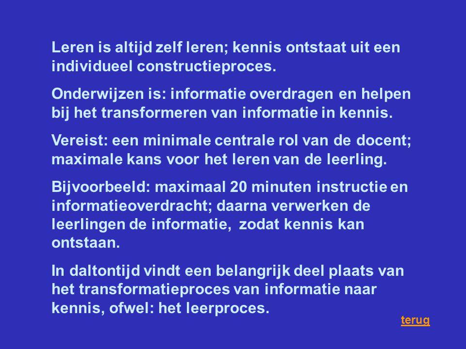 Leren is altijd zelf leren; kennis ontstaat uit een individueel constructieproces. Onderwijzen is: informatie overdragen en helpen bij het transformer