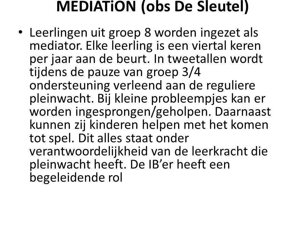 MEDIATiON (obs De Sleutel) Leerlingen uit groep 8 worden ingezet als mediator.