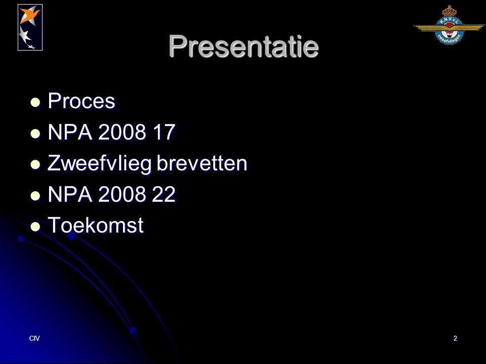 CIV2 Presentatie Proces Proces NPA 2008 17 NPA 2008 17 Zweefvlieg brevetten Zweefvlieg brevetten NPA 2008 22 NPA 2008 22 Toekomst Toekomst