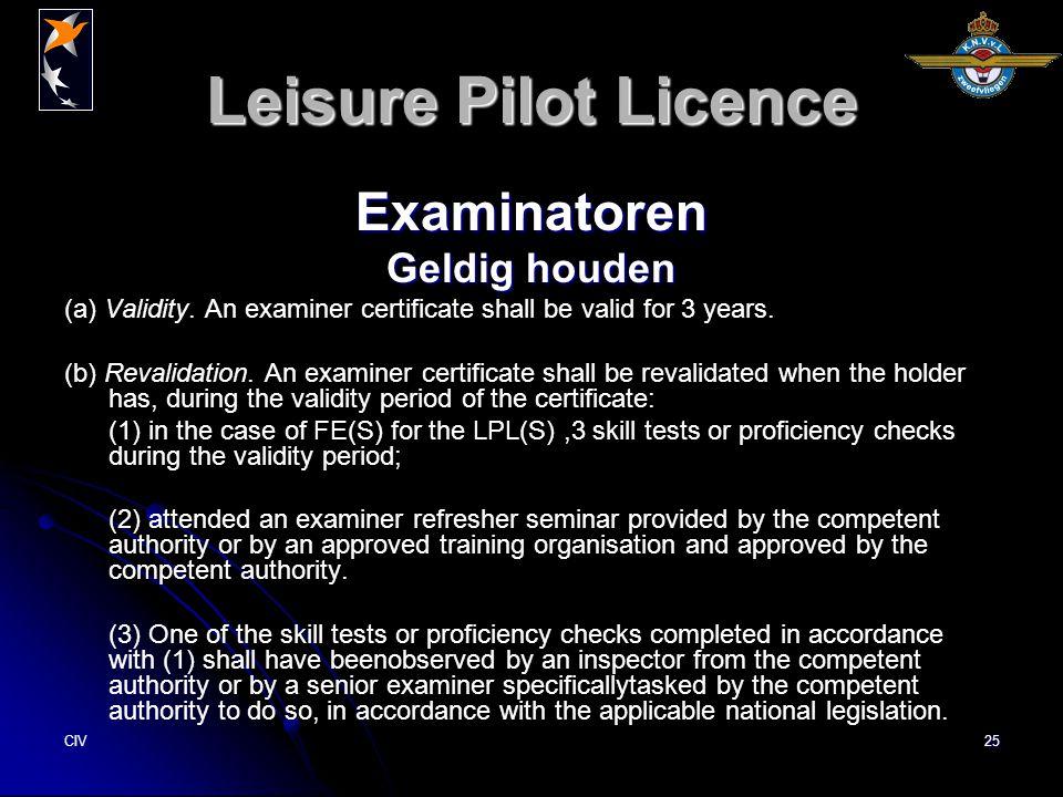 CIV25 Leisure Pilot Licence Examinatoren Geldig houden (a) Validity.