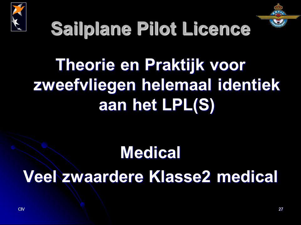CIV27 Sailplane Pilot Licence Theorie en Praktijk voor zweefvliegen helemaal identiek aan het LPL(S) Medical Veel zwaardere Klasse2 medical