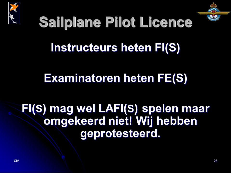 CIV28 Sailplane Pilot Licence Instructeurs heten FI(S) Examinatoren heten FE(S) FI( S ) mag wel LAFI( S ) spelen maar omgekeerd niet! Wij hebben gepro