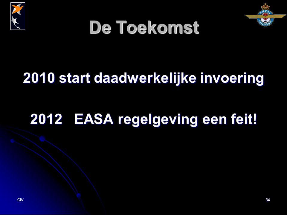 CIV34 De Toekomst 2010 start daadwerkelijke invoering 2012 EASA regelgeving een feit!