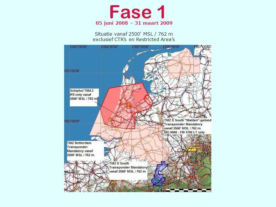 Fase 1 05 juni 2008 – 31 maart 2009 Situatie vanaf 3500' MSL / 1067 m exclusief CTR's en Restricted Area's