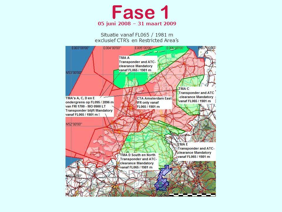 Fase 1 05 juni 2008 – 31 maart 2009 Overzicht exclusief klasse A CTR's en Restricted Area's