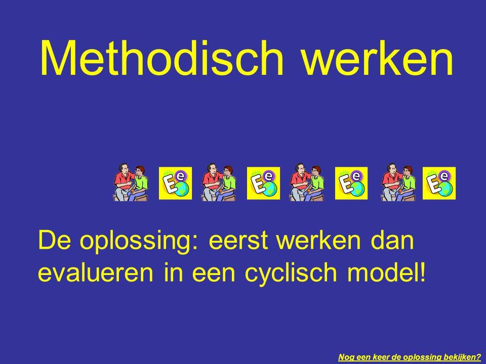 Methodisch werken De oplossing: eerst werken dan evalueren in een cyclisch model.