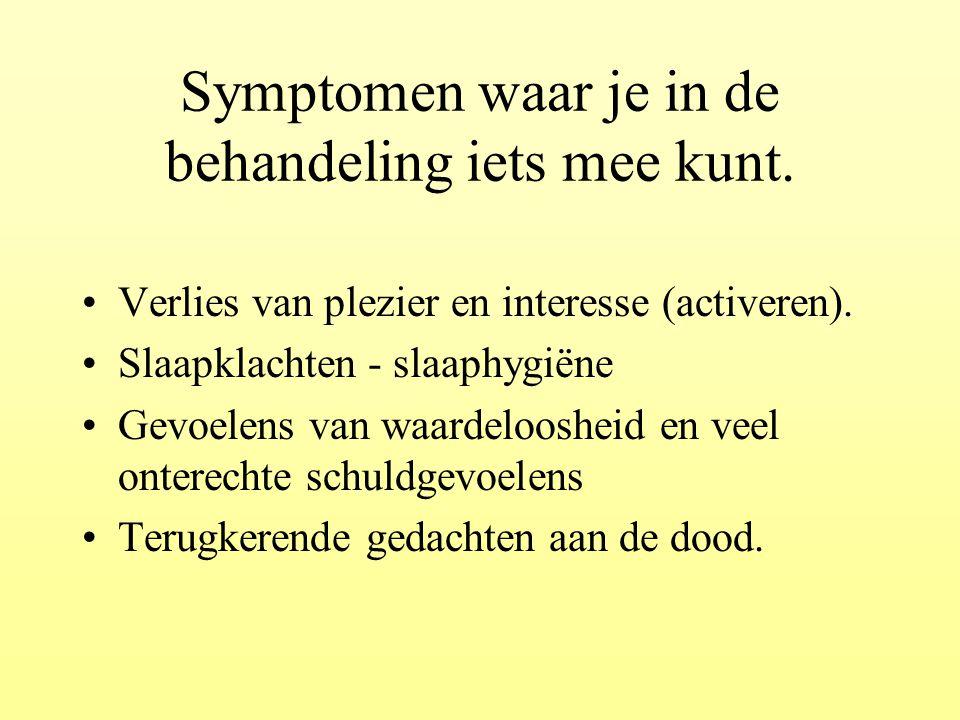 Symptomen waar je in de behandeling iets mee kunt. Verlies van plezier en interesse (activeren). Slaapklachten - slaaphygiëne Gevoelens van waardeloos