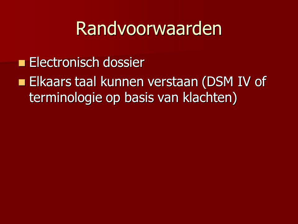Randvoorwaarden Electronisch dossier Electronisch dossier Elkaars taal kunnen verstaan (DSM IV of terminologie op basis van klachten) Elkaars taal kun