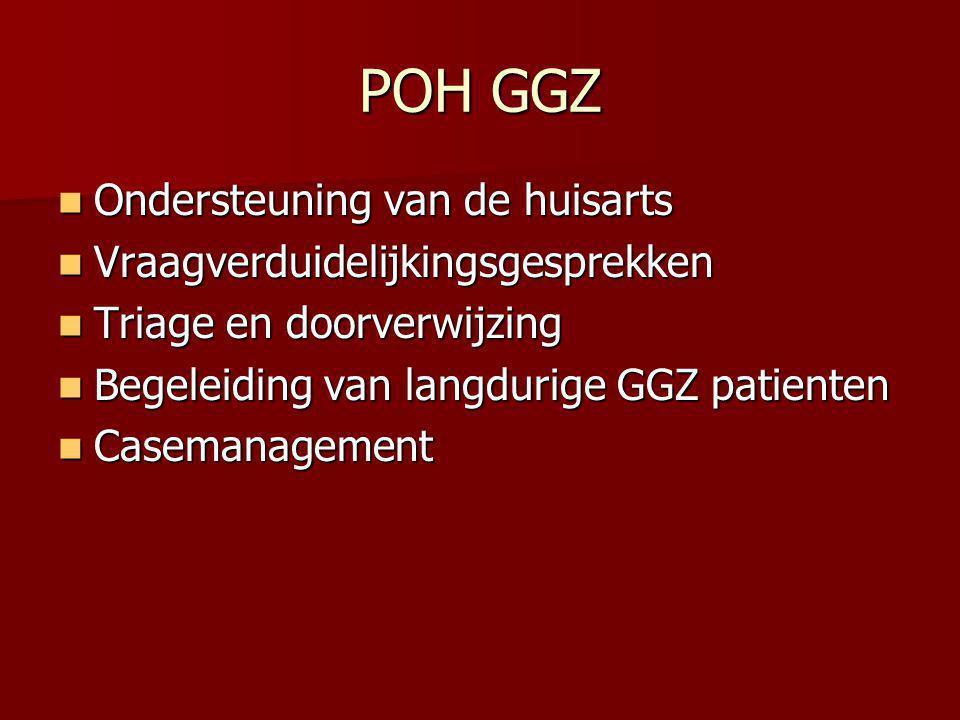 POH GGZ Ondersteuning van de huisarts Ondersteuning van de huisarts Vraagverduidelijkingsgesprekken Vraagverduidelijkingsgesprekken Triage en doorverw
