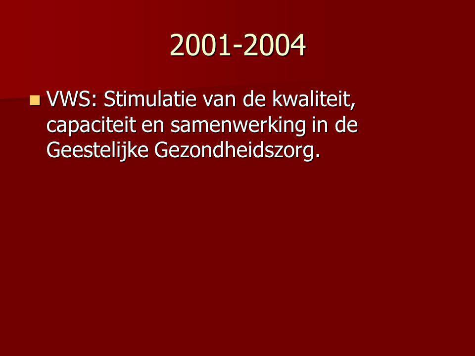 2001-2004 VWS: Stimulatie van de kwaliteit, capaciteit en samenwerking in de Geestelijke Gezondheidszorg. VWS: Stimulatie van de kwaliteit, capaciteit