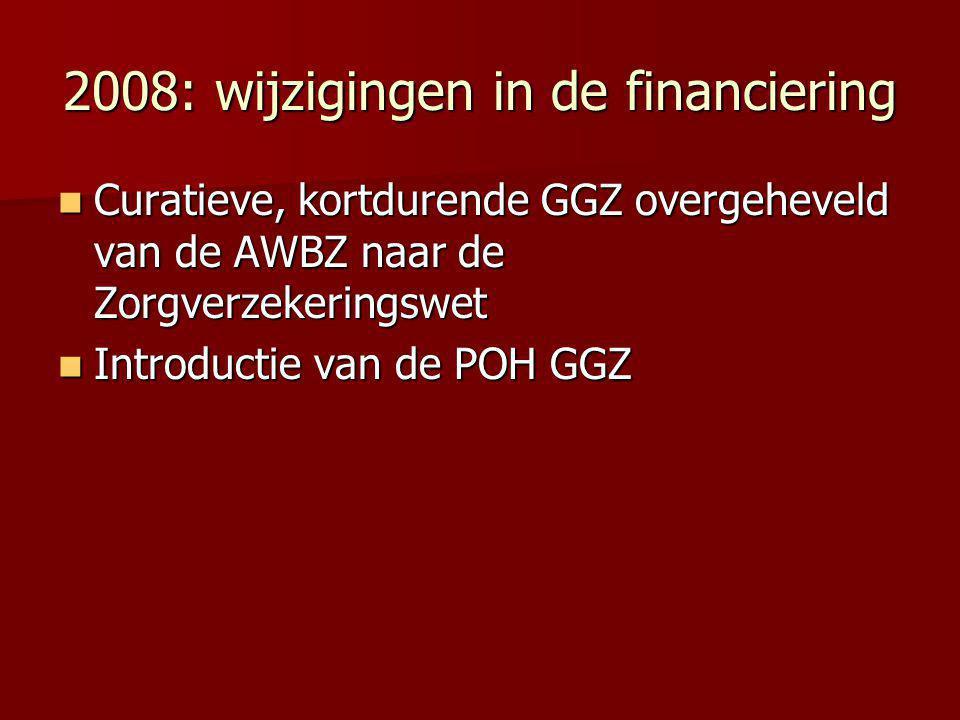 2008: wijzigingen in de financiering Curatieve, kortdurende GGZ overgeheveld van de AWBZ naar de Zorgverzekeringswet Curatieve, kortdurende GGZ overge